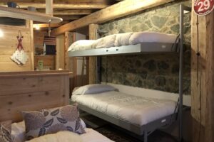 modern bedroom, chalet style apartment accommodation, ski sauze d'oulx